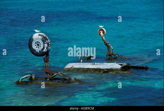 Bahamas Bimini Crashed airplane in water - Stock Image