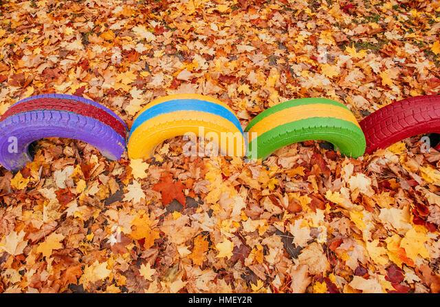 colored playground near the kindergarten - Stock Image