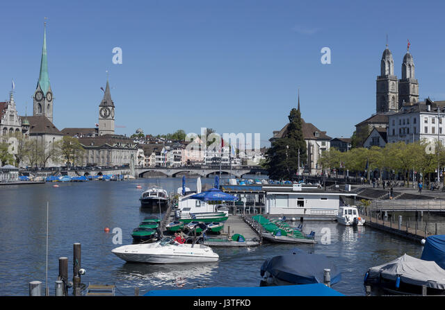 View of Zurich and River Limmat, Switzerland. - Stock Image