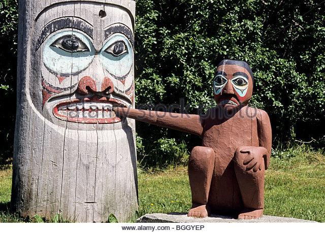 Myth - Human / Bear on Totem saxman, alaska. - Stock Image