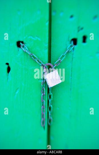 Mallorca Cala Figuera green door with locker - Stock Image