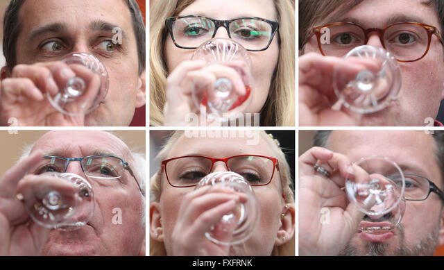Freyburg, Germany. 15th Apr, 2016. COMBO - Guests at the Central German New Wine Sampling trying new wine in Freyburg, - Stock Image