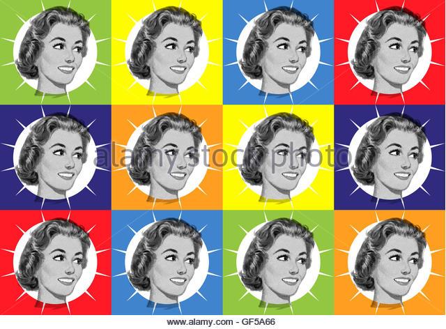Retro kitsch fifties housewife mid century atomic illustration - Stock Image