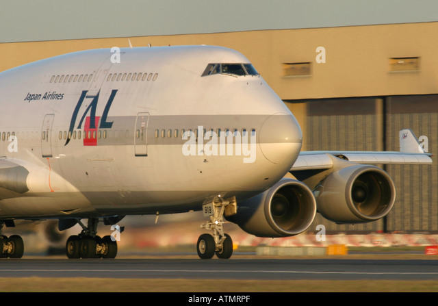 Close-up of Japan Airlines - JAL Boeing 747-446 at London Heathrow Airport - Stock Image