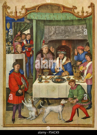 Medieval representations of the months of the year : January - Stock Image