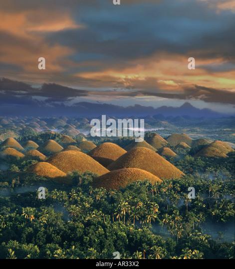Sunrise, Chocolate Hills, Natural wonder, Bohol Island Philippines - Stock Image