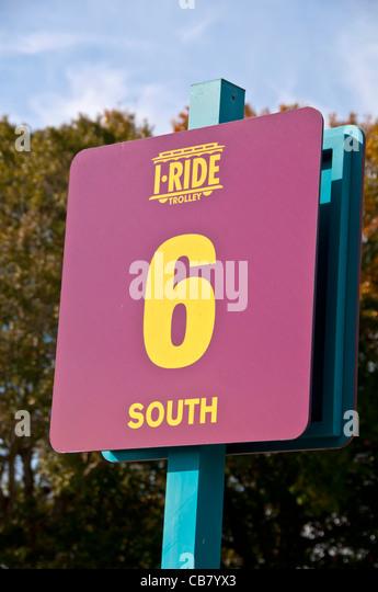 I-Ride Trolley bus stop sign, International Drive Resort Area, Orlando, Florida - Stock Image