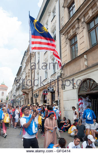 Krakow Poland 26th July 2016. Young Catholics from around the globe are descending on the Southern Polish city of - Stock-Bilder