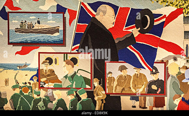 Part of the Occupation Tapestry, Churchill at St Clement for the liberation, St Helier, Jersey, Channel Islands, - Stock Image