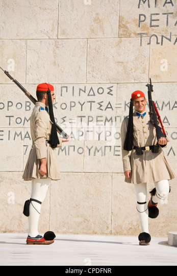 Changing of the Guard at the Tomb of the Unknown Soldier, Athens, Greece, Europe - Stock Image