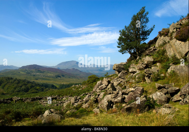 Snowdonia mountains from the Moelwyn range, Snowdonia, North Wales, UK - Stock Image