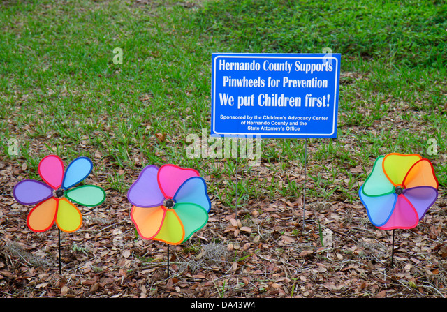 Brooksville Florida Pinwheels for Preservation Children's Advocacy Center centre rights protection children - Stock Image