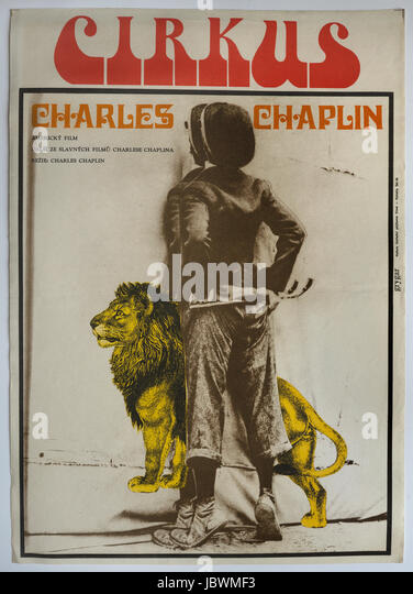 The Circus. Charlie Chaplin. Original Czechoslovak movie poster, 1976. - Stock Image
