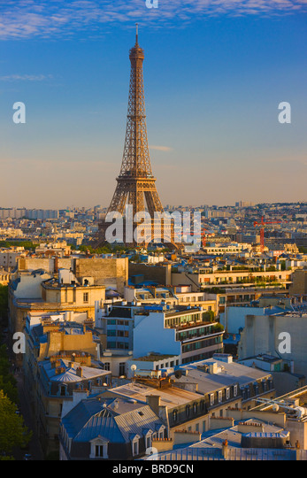 Elevated view of the Eiffel Tower, Paris, France - Stock Image