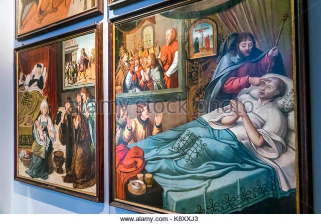 Portugal Lisbon Bairro Alto Museu de Sao Roque Saint Roch museum exhibit Catholic religion sacred artworks religious - Stock Image