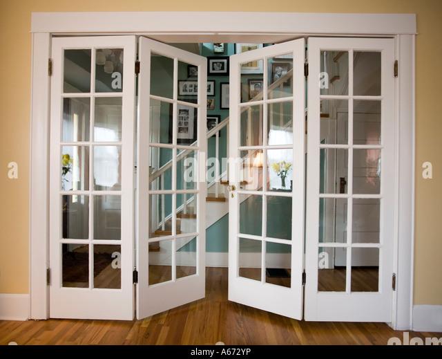 Partially open door stock photos partially open door for French doors that both open