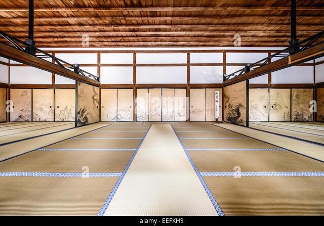 The interior of the Kuri, the main building of Ryoanji Temple. - Stock-Bilder