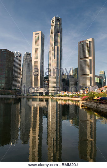 Central Business District  and Boat Quay Singapore - Stock Image