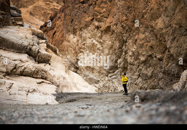 Trekker taking in sights, Death Valley National Park, California, US - Stock-Bilder