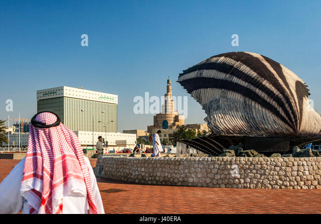 Qatar Doha  oyster fountain with pearl along the shore of Doha , Sheik, Mosque, Qatar Central Bank QCB, - Stock Image