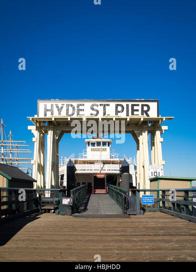 The Eureka, an 1890 ferryboat on Hyde Street Pier in San Francisco Maritime National Historical Park in San Francisco. - Stock Image