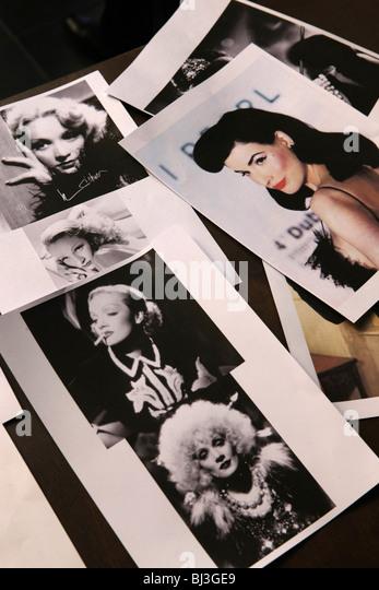 Polaroid photos, photocopies, celebrities, stars, - Stock Image