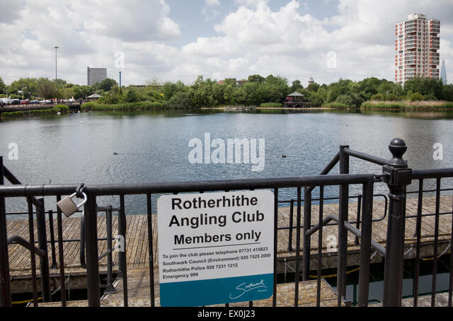 Rotherhithe Angling Club Pond Sign in Rotherhithe - London UK - Stock Image