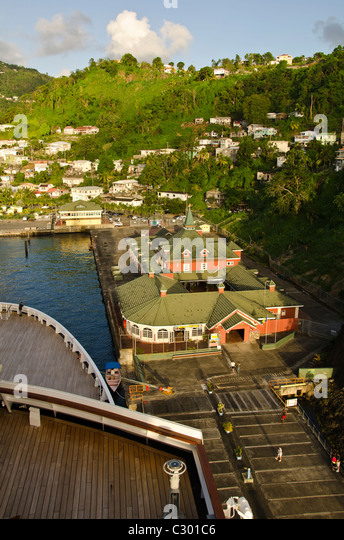 St Vincent Kingstown Cruise Port looking down from Caribbean cruise ship - Stock Image
