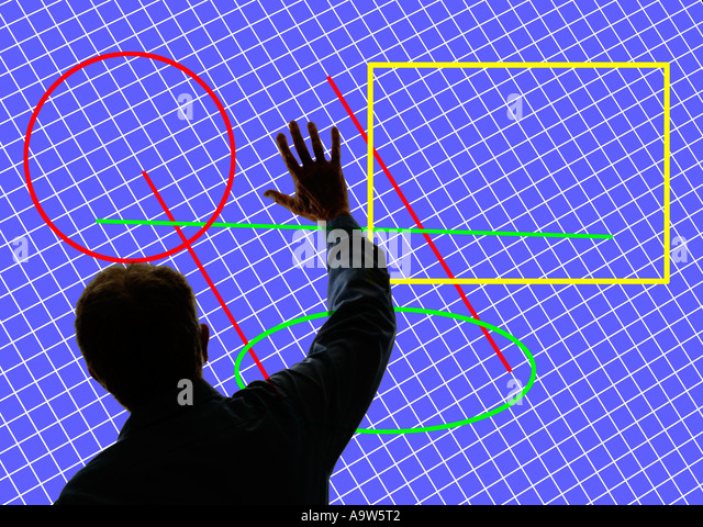 man sending hand signal in front of large 3D screen with digital images - Stock Image