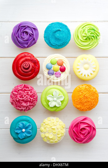 Colorful cupcakes - Stock Image