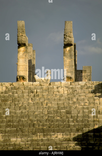 Temple of the Warriors at Chichen Itza, Yucatan, Mexico, stairway leads to chac mool between two carved columns, - Stock Image