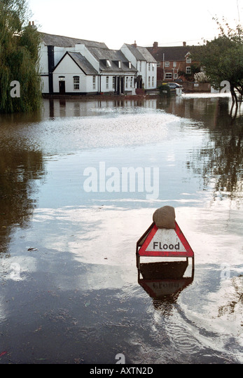 Flooded road in Hereford Herefordshire England UK after the River Wye burst its banks following heavy rain - Stock Image