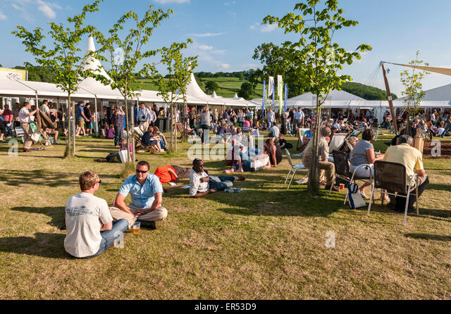 The Hay Festival of Literature and the Arts, Hay-on-Wye, Powys, UK. A fine afternoon - Stock Image
