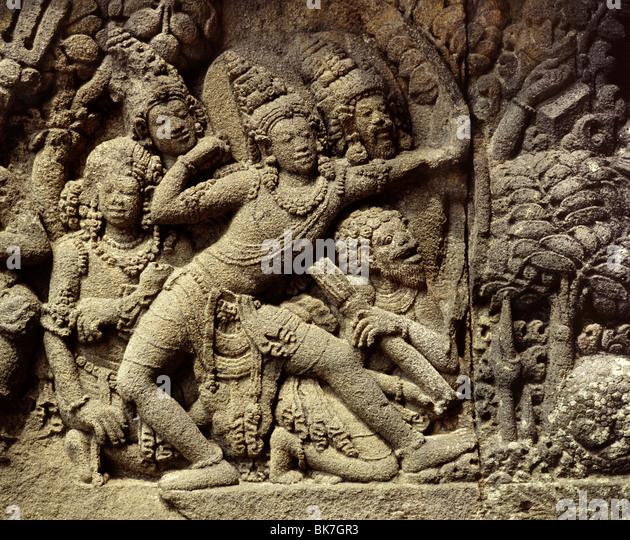 Relief of Rama the hero of the Ramayana, Loro Jongrang, Prambanan, UNESCO World Heritage Site, Java , Indonesia - Stock Image
