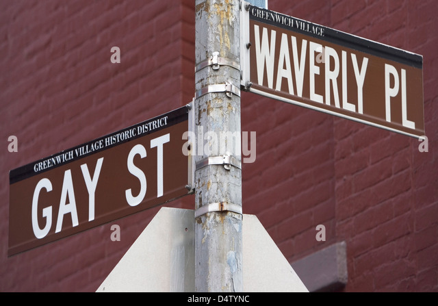Gay St and Waverly Pl signs - Stock Image