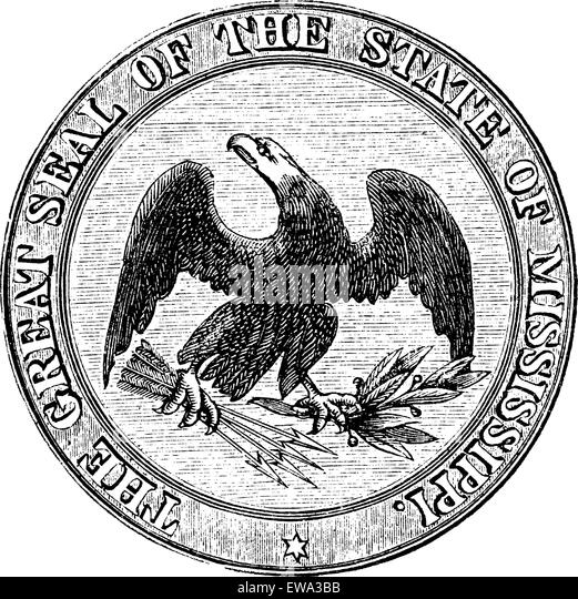 Seal of the State of Mississippi, vintage engraved illustration. Trousset encyclopedia (1886 - 1891). - Stock Image
