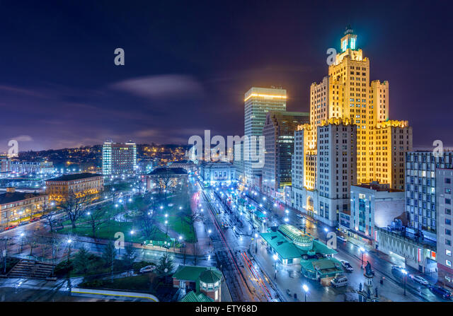 Providence, Rhode Island, USA cityscape at night. - Stock Image