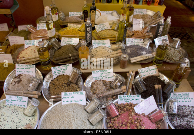 France Nice old city center market stall salt and vinagre - Stock Image