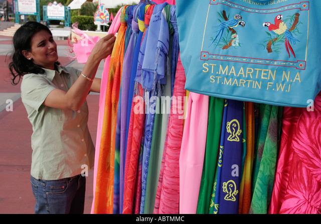 Sint Maarten Philipsburg Dutch Asian woman fabric for sale duty free souvenir bag - Stock Image