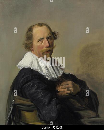 Frans Hals - Portrait of a Gentleman Half Length in a Black Coat - Stock Image