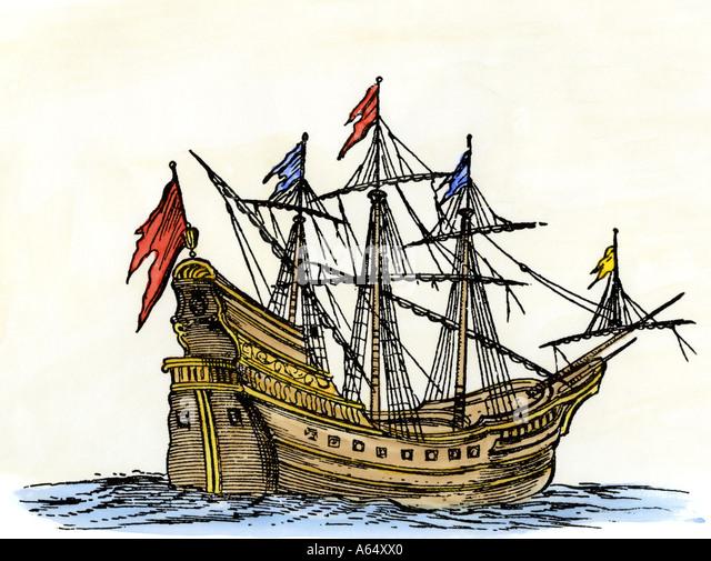 Sailing ship of the seventeenth century - Stock Image