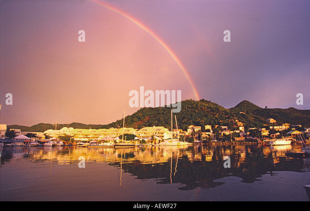 Carribean St Martin French West Indies Marigot rainbow - Stock Image