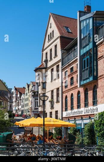 Likoerfabrik, Cafe, Restaurant, Rostock , Mecklenburg-Vorpommern, - Stock Image