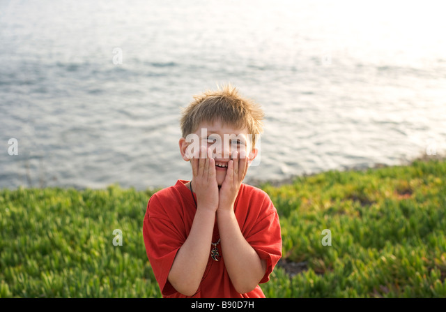 Boy at the beach the Canary Islands. - Stock Image
