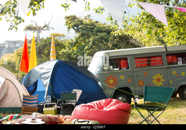 Empty campsite at music festival - Stock-Bilder