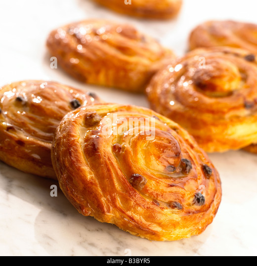 A pain au raisin - Stock Image