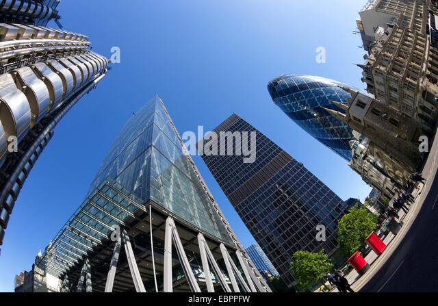 City of London financial district with Gherkin, Lloyds building, Cheese Grater and NatWest Tower, England, United - Stock Image