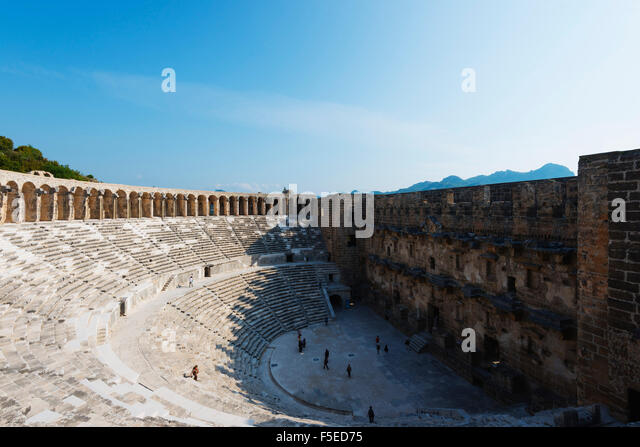 The second century Roman theatre, built by Emperor Marcus Aurelius, Aspendos, Pamphylia, Anatolia, Turkey, Asia, - Stock Image
