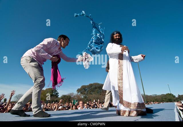 Sept. 9, 2012 - Buenos Aires, Argentina - Indian guru Sri Sri RAVI SHANKAR, leader of the NGO The Art of Living, - Stock-Bilder