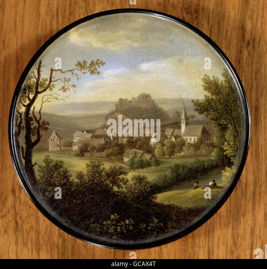fine arts, painting, landscape art, village and castle ruin, snuff box, enamel painting, early, 19th century, - Stock Image